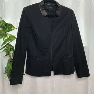 Lafayette 148 Faux Leather Trim Black Blazer